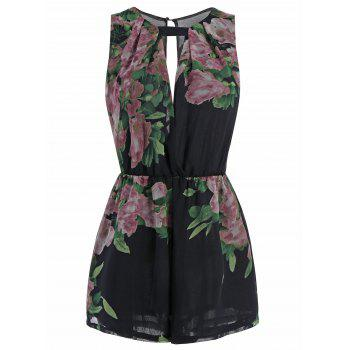 Sleeveless Floral Print Cut Out Romper