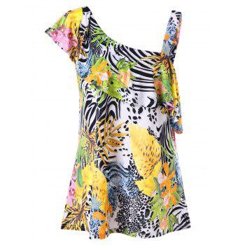 One Shoulder Ruffle Tropical Plus Size Top