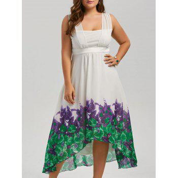Plus Size Chiffon Beach A Line High Low Flowy Dress
