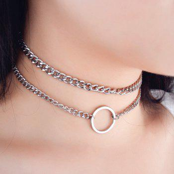 Circle Metal Chain Necklace Set