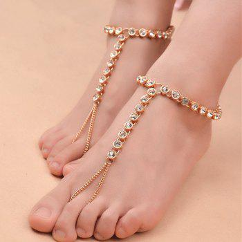 1PC Rhinestoned Chain Slave Anklet -  GOLDEN