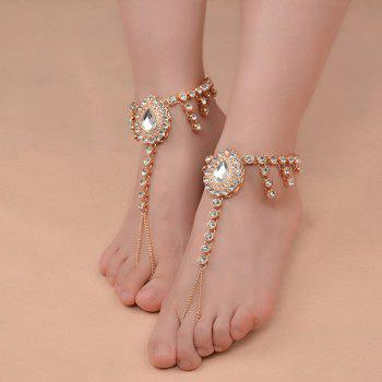 1PC Rhinestone Faux Gem Teardrop Slave Anklet - Or