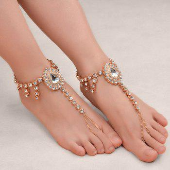 1PC Rhinestone Faux Gem Teardrop Slave Anklet - GOLDEN GOLDEN