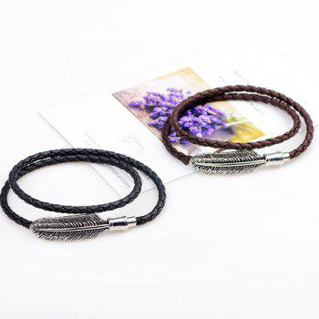 Faux Leather Braid Braid Feather Bracelet - Café