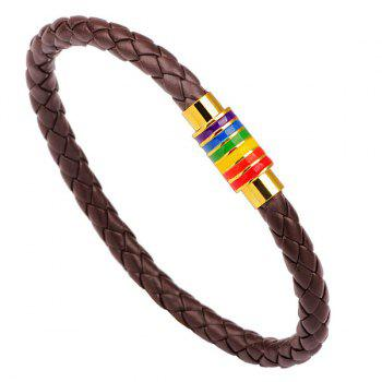 Faux Leather Braid Rainbow Rope Bracelet