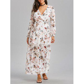 Chiffon Floral Belt Maxi Dress