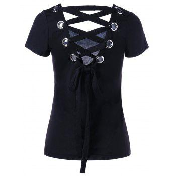 Tie Back Lace Up T-shirt