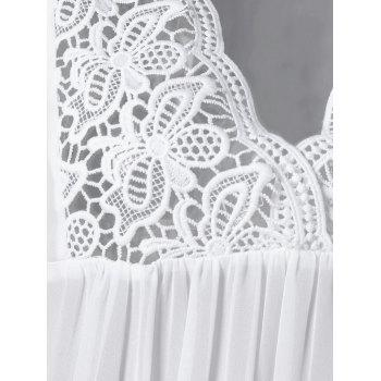 Lace Trim Cutwork Smock Blouse - M M