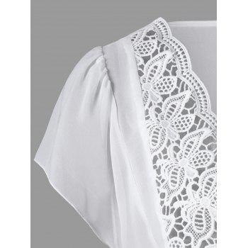 Lace Trim Cutwork Smock Blouse - XL XL