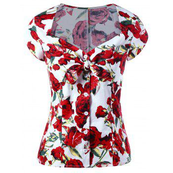 Sweetheart Neck Button Up Floral Gothic Blouse - RED L