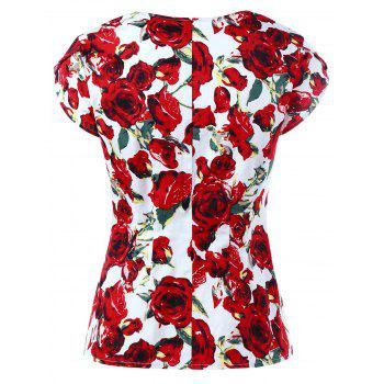 Sweetheart Neck Button Up Floral Gothic Blouse - L L