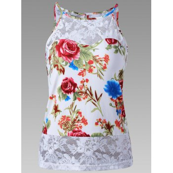 Lace Trim Sheer Floral Tank Top