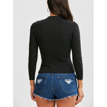 Ribbed Button Up Long Sleeve Top - BLACK XL