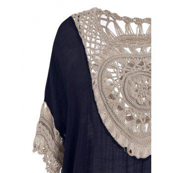 Hollow Out Tunic Crochet Cover Up Top - CERULEAN CERULEAN