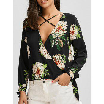 Plunging Neck Criss Cross Floral Print Blouse - BLACK M