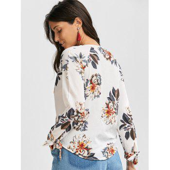 Plunging Neck Criss Cross Floral Print Blouse - S S