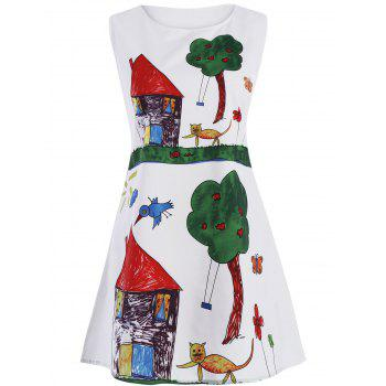 Cartoon Print Mini Trapeze Dress