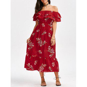 Off The Shoulder Flounce Floral Printed Dress