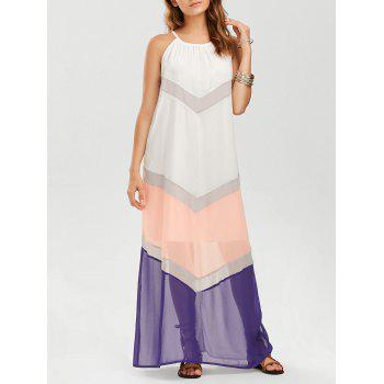 Chiffon Color Block Chevron Maxi Dress