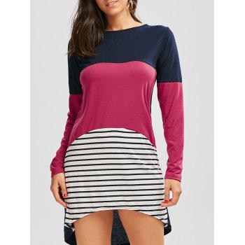Color Block Striped Long Sleeve Casual Tee Dress