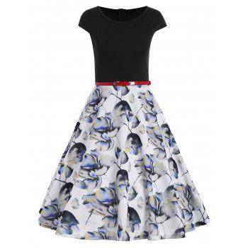 Printed Knee Length Fit and Flare Dress