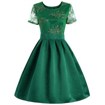 Retro Style Floral Embroidered Cut Out Dress