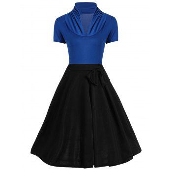 Vintage Bowknot Design Two Tone Dress