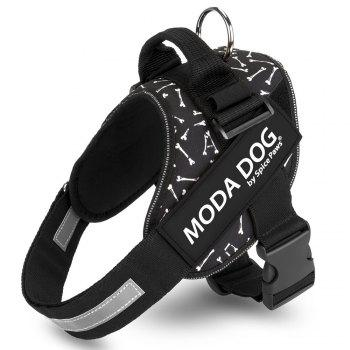 Nylon Cloth MODA DOG Harness Vest Luminated PatchPet Chest Straps - BLACK BLACK