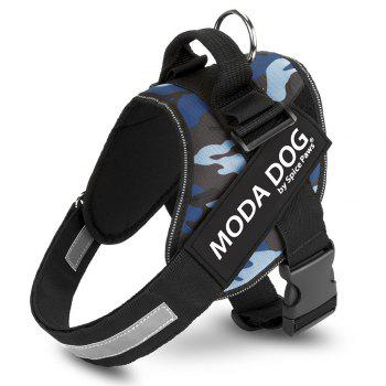 Nylon Cloth MODA DOG Harness Vest Luminated PatchPet Chest Straps - BLUE CAMOUFLAGE BLUE CAMOUFLAGE