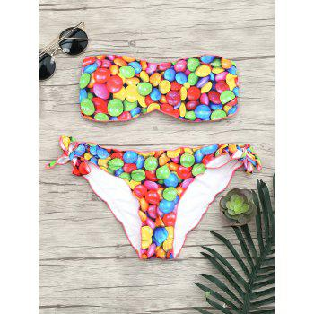 Colorful Print Tied Bandeau Bikini Set