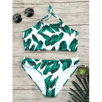 Halter Leaves Print Tropical Bikini Set