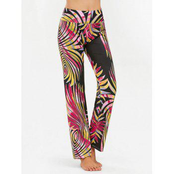 High Wide Waistband Straight Pants with Print