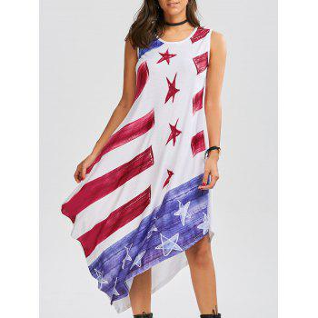 American Flag Print Asymmetrical Tank Dress