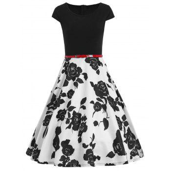 Floral Vintage Belted Fit and Flare Dress