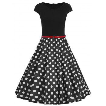 Vintage Polka Dot Belted Fit and Flare Dress