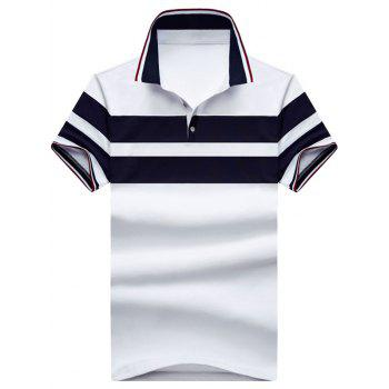 Half Buttoned Striped Polos