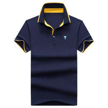 Contrast Trim Logo Patch Polo Shirt