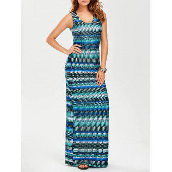 U Neck Sleeveless Evening Maxi Dress