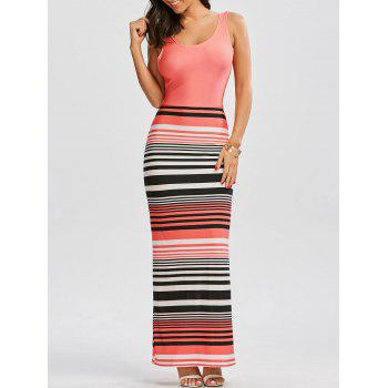 Criss Cross Cut Out Striped Maxi Beach Dress