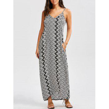 Geometric Print Slip Maxi Baggy Dress