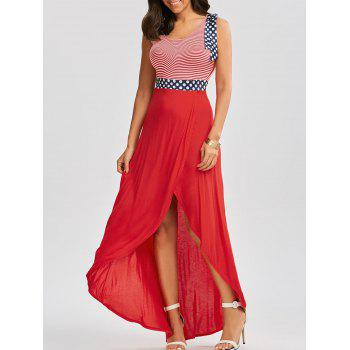Scoop Neck Patriotic Long High Low Dress