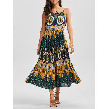 Braided Strap Printed High Waist Dress