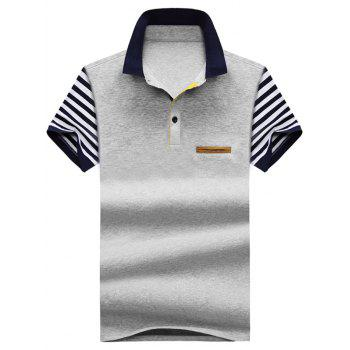 Faux Pocket Stripe Polo Shirt