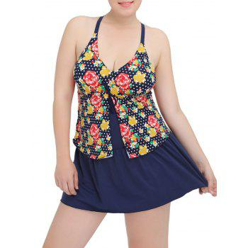 Plus Size Floral Printed Plunge Modest One Piece Swimsuit