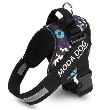 Nylon Cloth MODA DOG Harness Vest Luminated PatchPet Chest Straps - GREY AND WHITE AND BLUE GREY/WHITE/BLUE