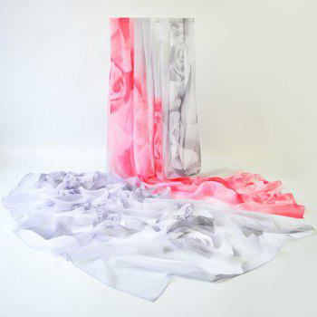 Gossamer Rose Printed Two Tone Shawl Scarf