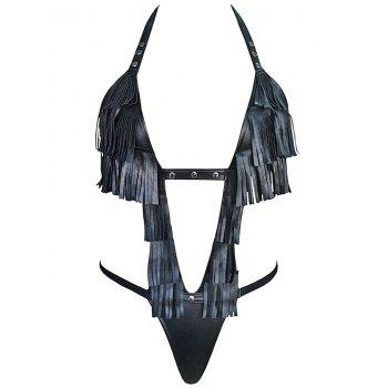 Halter Fringed Faux Leather T-Back Teddy