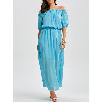 Off The Shoulder High Waist Chiffon Maxi Dress