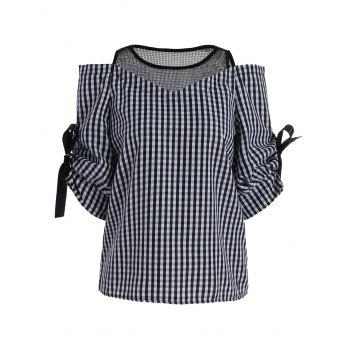 Cold Shoulder Mesh Insert Plaid Top - BLACK BLACK