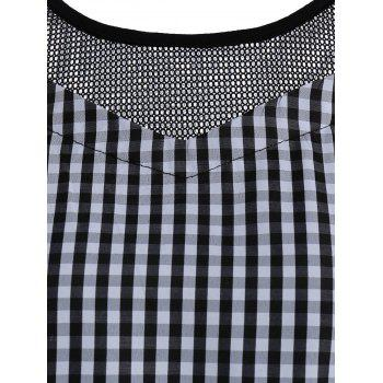 Cold Shoulder Mesh Insert Plaid Top - ONE SIZE ONE SIZE